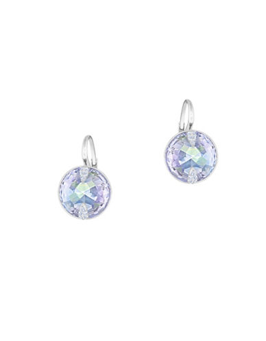 Swarovski Crystal, Violet Crystal Cut and Rhodium-Plated Globe Drop Earrings-BLUE-One Size