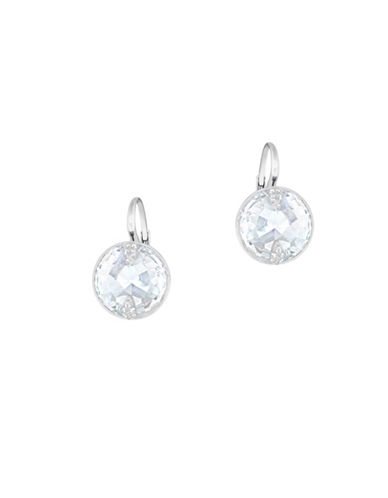 Swarovski Crystal, White Clear Crystal Cut and Rhodium-Plated Globe Drop Earrings-SILVER-One Size
