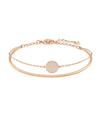 Swarovski Ginger Clear Swarovski Crystal Rose Goldplated Two-in-One Layered Bangle Bracelet-ROSE GOLD-One Size