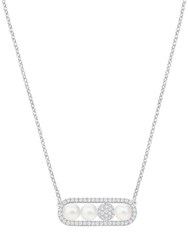Swarovski Crystal, White Crystal Pearl and Rhodium-Plated Fundamental Necklace-WHITE-One Size