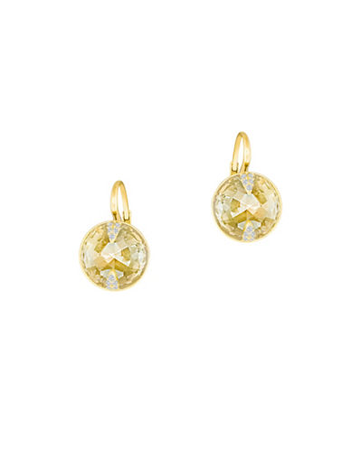 Swarovski Crystal, Golden Crystal Cut and Goldplated Globe Drop Earrings-GOLD-One Size