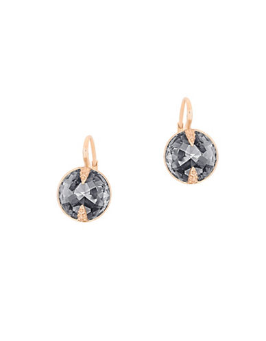 Swarovski Crystal, Dark Gray Crystal Cut and Rose Goldplated Globe Drop Earrings-GREY-One Size