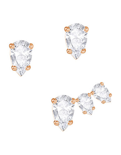 Swarovski Attract Clear Swarovski Crystal Rose Goldplated Pear Pierced Earrings Set-CRYSTAL-One Size