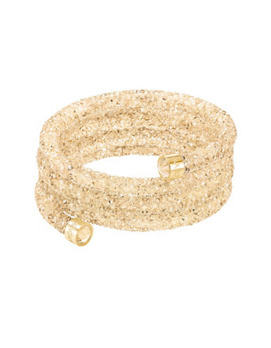 Swarovski Golden-Toned Crystaldust and Crystal Wide Bangle-GOLD-One Size