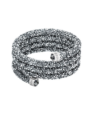 Swarovski Stainless Steel Crystaldust and Crystal Wide Bangle-GREY-One Size