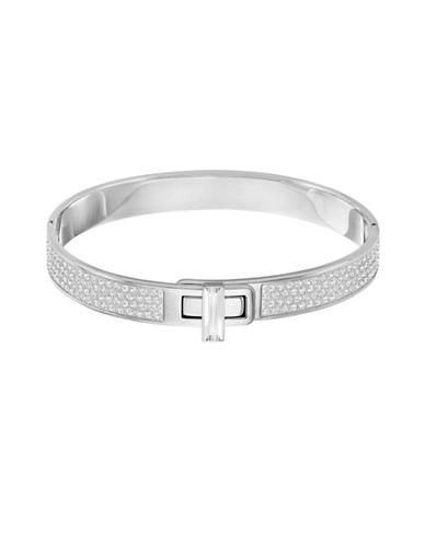 Swarovski Gave Silvertone Pave Bangle Bracelet-SILVER-One Size