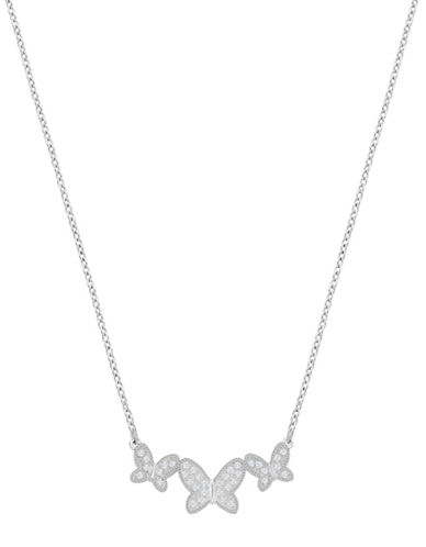 Swarovski Crystal Pave Rhodium-Plated Field Butterfly Necklace-SILVER-One Size