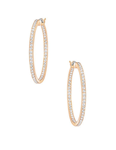 Swarovski Crystal Pave Rose Goldplated Sommerset Hoop Earrings-ROSE GOLD-One Size