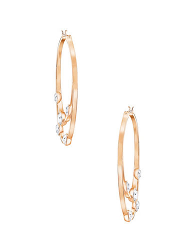 Swarovski Crystal and Rose Goldplated Gaze Hoop Earrings-ROSE GOLD-One Size
