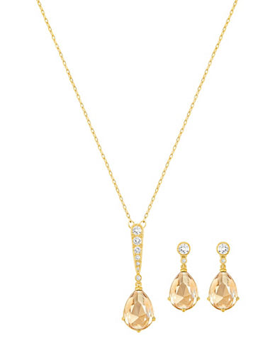 Swarovski Vintage Two-Tone Crystal Goldplated Necklace and Earrings Set-GOLD-One Size