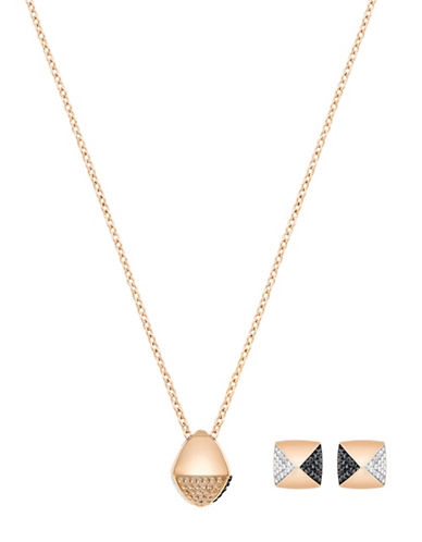 Swarovski Glance Crystal Rose Goldplated Pendant Necklace and Earrings Set-ROSE GOLD-One Size