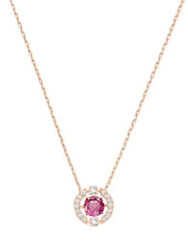 Swarovski Sparkling Dance Crystal Rose Goldplated Pendant Necklace-RED-One Size
