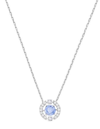 Swarovski Sparkling Dance Round Crystal Rhodium-Plated Pendant Necklace-BLUE-One Size