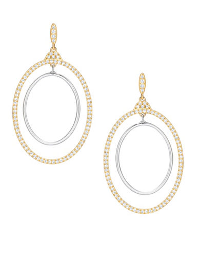 Swarovski Gilberte Crystal Two-Tone Goldplated Concentric Hoop Earrings-GOLD-One Size