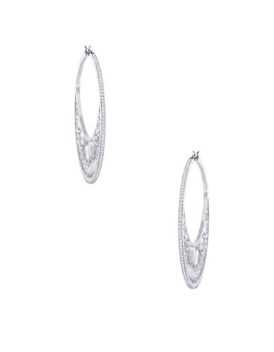 Swarovski Georgette Crystal Rhodium-Plated Hoop Earrings-SILVER-One Size