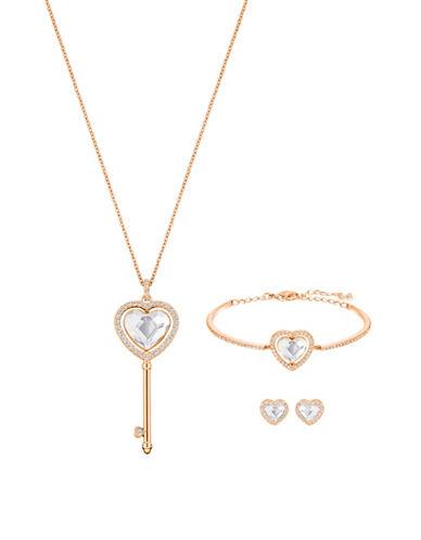 Swarovski Engaged Crystal Rose Goldplated Pendant Necklace, Bangle Bracelet and Stud Earrings Set-ROSE GOLD-One Size