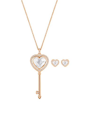 Swarovski Engaged Crystal Rose Goldplated Heart Pendant Necklace and Stud Earrings Set-ROSE GOLD-One Size