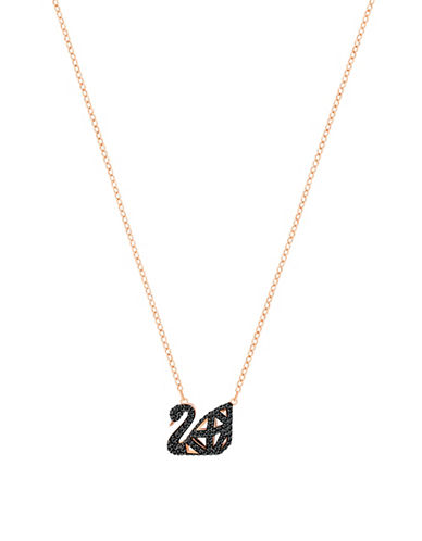 Swarovski Crystal Facet Swan Pendant Necklace-ROSE GOLD-One Size