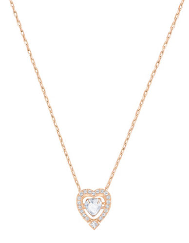 Swarovski Sparkling Dance Heart Crystal Rose goldplated Pendant Necklace-ROSE GOLD-One Size