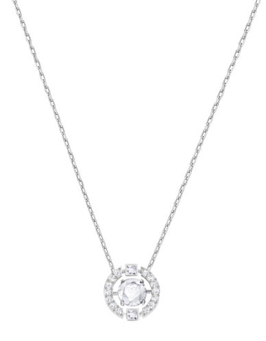 Swarovski Sparkling Dance Round Crystal Rhodium-Plated Pendant Necklace-SILVER-One Size