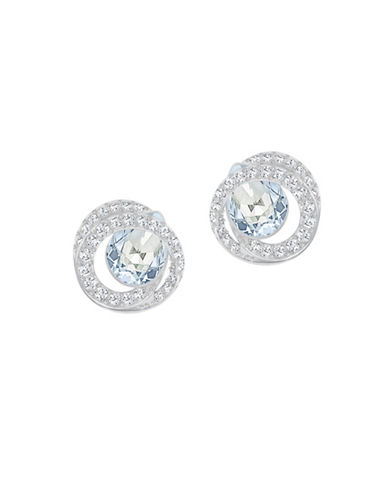 Swarovski Generation Pear Crystal Rhodium-Plated Earrings-BLUE-One Size