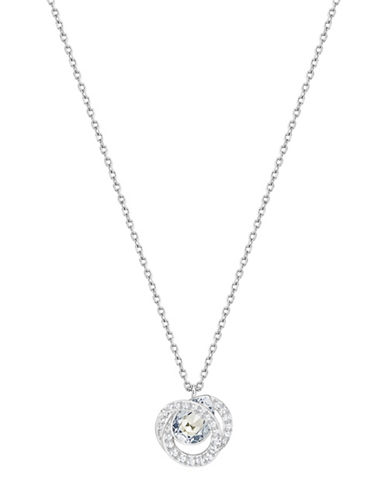 Swarovski Generation Pear Crystal Rhodium-Plated Pendant Necklace-SILVER-One Size