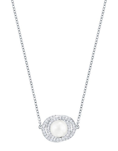 Swarovski Elaborate Crystal Rhodium-Plated and Faux Pearl Pendant Necklace-SILVER-One Size