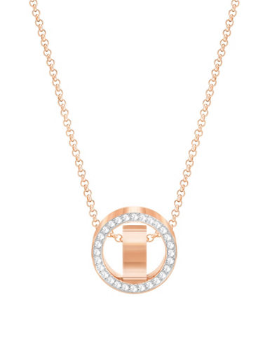 Swarovski Hollow Rose Goldplated Pendant Necklace-ROSE GOLD-One Size