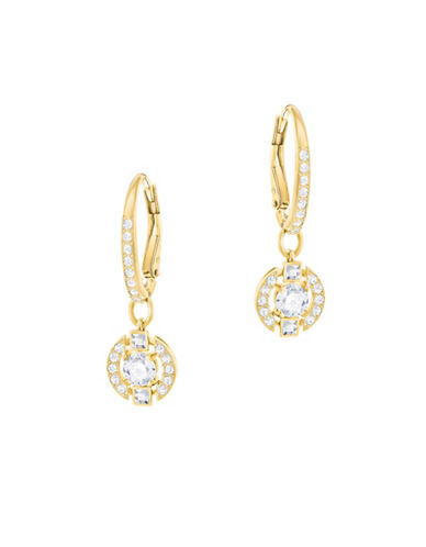 Swarovski Sparkling Dance Round Crystal Goldplated Earrings-GOLD-One Size