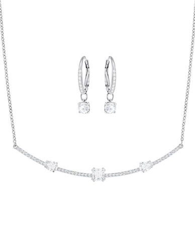 Swarovski Silvertone Necklace and Pierced Earrings Set-SILVER-One Size