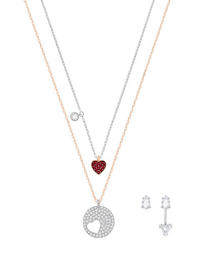 Swarovski Crystal Wishes Necklace and Earrings Set-RED-One Size