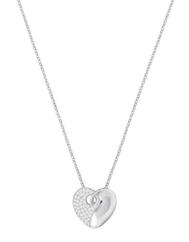 Swarovski Guardian Crystal Rose Rhodium-plated Necklace-SILVER-One Size