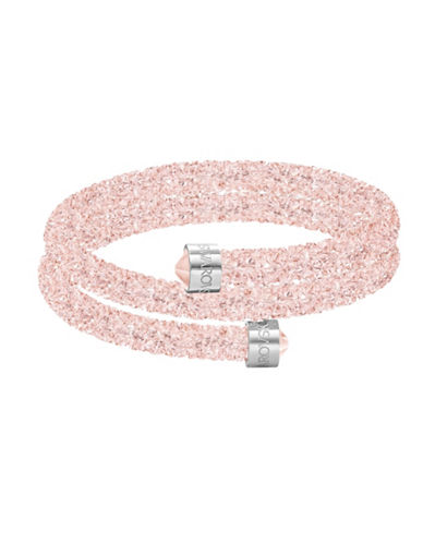 Swarovski Crystaldust Rose Pink Crystal and Stainless Steel Double Bangle-PINK-One Size