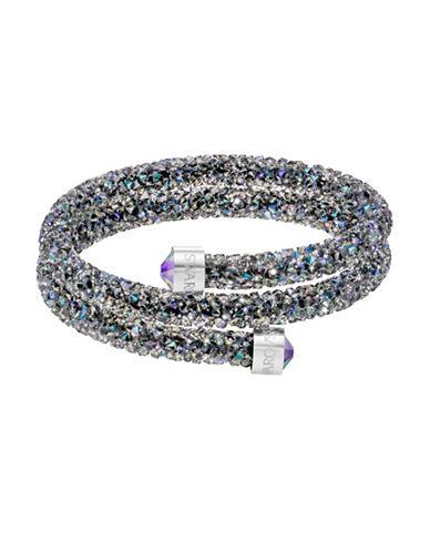 Swarovski Crystaldust Paradise Shine Crystal and Stainless Steel Double Bangle-BLACK-One Size