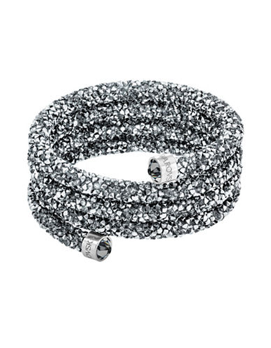 Swarovski Crystaldust Crystal and Stainless Steel Wide Bangle-GREY-One Size