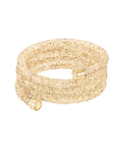 Swarovski Crystaldust Goldtone Crystal and PVD Wide Bangle-GOLD-One Size