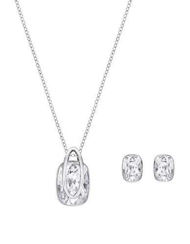 Swarovski Two-Piece Crystal Holding Pendant Necklace And Earrings Set-SILVER-One Size