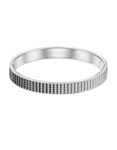 Swarovski Luxury Crystal Small Hinged Bangle Bracelet-SILVER-One Size