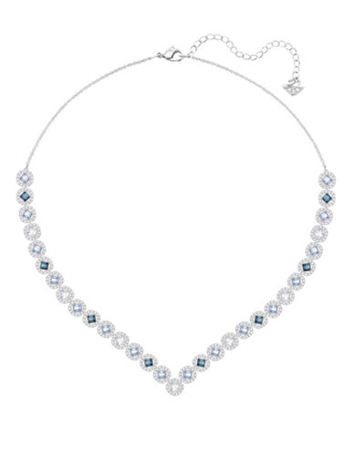 Swarovski Angelic Multicolour Crystal Silvertone V-Necklace-SILVER-One Size
