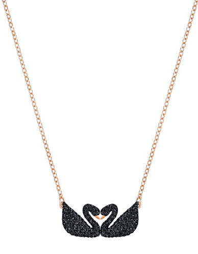 Swarovski Iconic Swan Double Black Crystal Rose Goldplated Pendant Necklace-BLACK-One Size