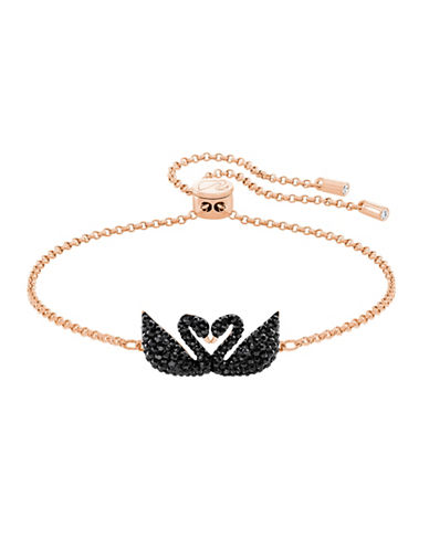 Swarovski Iconic Swan Double Bracelet-ROSE GOLD-One Size