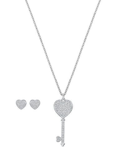 Swarovski Engaged Key Pendant Necklace and Stud Earrings Set-SILVER-One Size