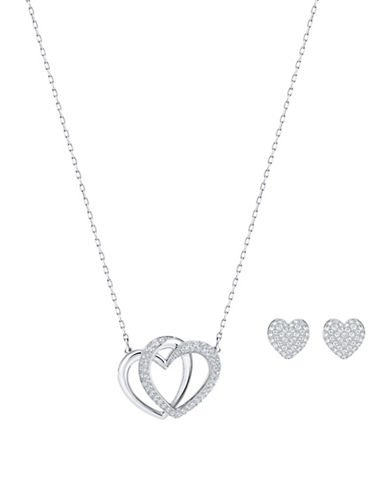 Swarovski Dear Pendant Necklace and Stud Earrings Set-SILVER-One Size