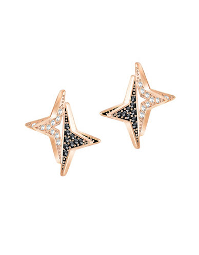 Swarovski Halve Star Crystal Stud Earrings-ROSE GOLD-One Size