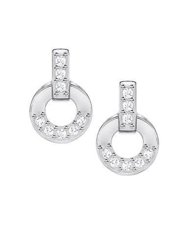 Swarovski Circle Silvertone Stud Earrings-SILVER-One Size