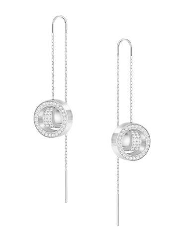 Swarovski Crystal Hollow Pierced Drop Earrings-SILVER-One Size