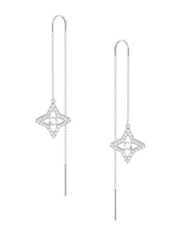 Swarovski Sparkling Dance Star Threader Earrings-SILVER-One Size