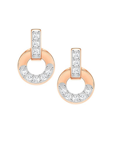 Swarovski Circle Rose Goldplated Stud Earrings-ROSE GOLD-One Size