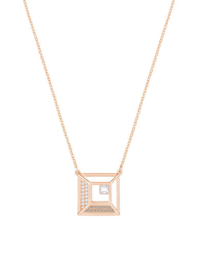 Swarovski Crystal Hillock Square Pendant Necklace-ROSE GOLD-One Size