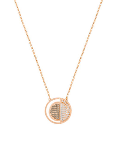 Swarovski Crystal Hillock Round Pendant Necklace-ROSE GOLD-One Size